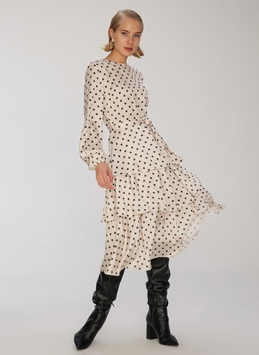 People By Fabrika Puantiye Desenli Elbise Vizon